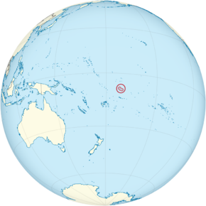 Tokelau on the globe (small islands magnified) (Polynesia centered).png