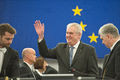 A smiling Czech President Miloš Zeman waves at the people in the plenary chamer in Strasbourg-Flickr.jpg