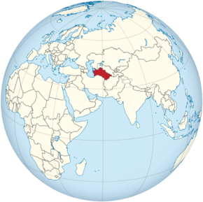 Turkmenistan on the globe (Afro-Eurasia centered).png